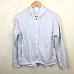 Nike Dri Fit Full Zip Light Gray Hoodie Medium